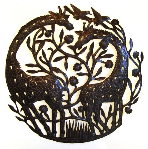Drum Recycled Steel Haitian (Le Primitif Galleries Haitian Recycled Steel Oil Drum Outdoor Decor, 23 by 23-Inch, Double Giraffes)