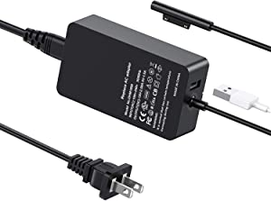 Surface Pro Charger Surface Book Charger 44W 15V 2.58A Power Supply for Surface Book Surface Pro 3 Pro 4 Pro 5 Pro 6 Surface Go Surface Laptop Charger Adapter with USB Port to Charger Other