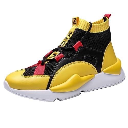 a216de53e55bf Amazon.com | Mosunx Athletic High Top Sneakers Men, Mesh Breathable ...