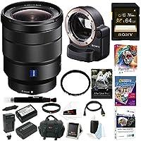 Sony 16-35mm E-Mount Lens, LAEA4 Lens Adapter Bundle Package