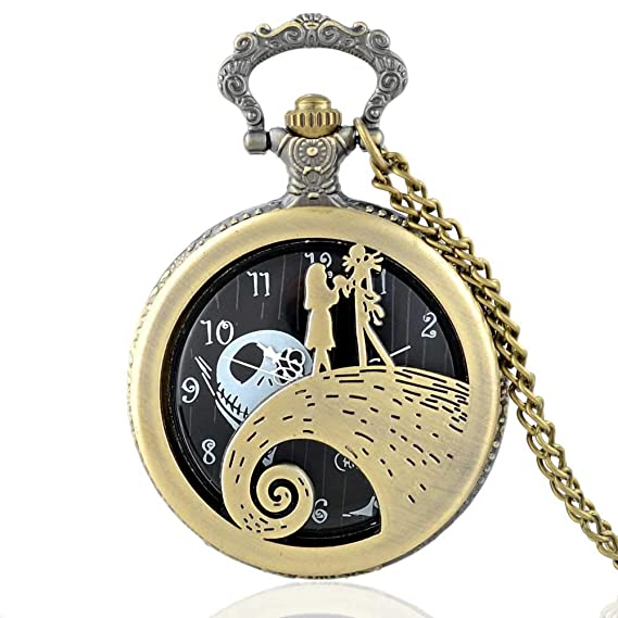 21e1a1a3d Image Unavailable. Image not available for. Color: The Nightmare Before  Christmas Jack Tim Burton Movie Kid Toys Watches |Fashion Black Pocket Watch