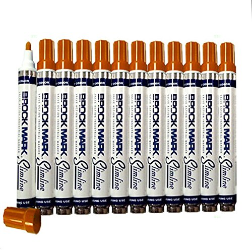 12 Pc Set Orange Brockmark Slimline Industrial Paint Markers Opaque Gloss Pen Metal Wood Plastic Glass for Auto Construction Arts Home (Industrial Marker)