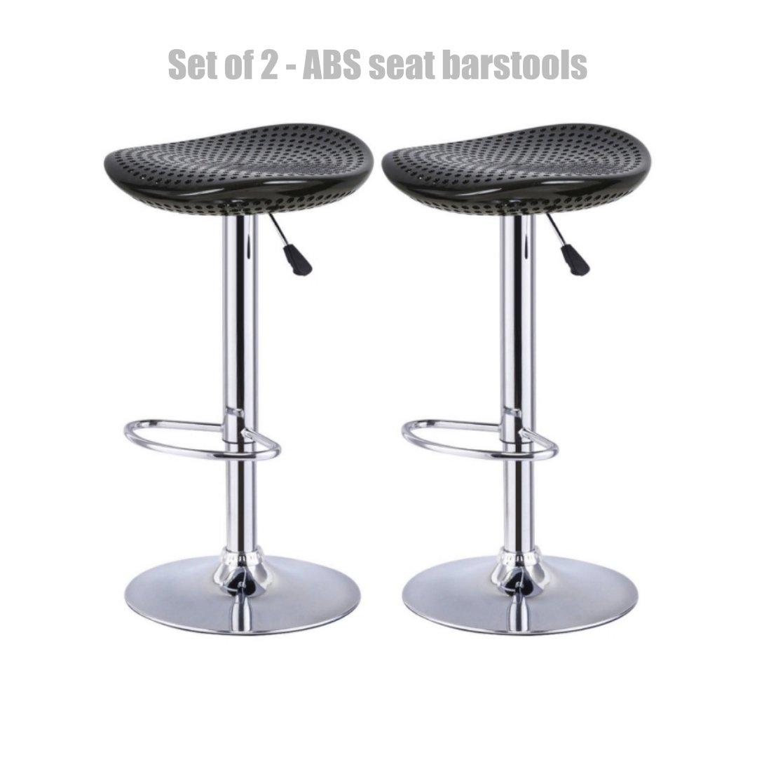Modern Style High-Gloss ABS Seat Bar stool Adjustable Height 360 Degree Swivel Seat Stable Footrest Durable Premium Chrome Frame Office Pub Chair New Black - Set of 2 #1229b by Koonlert@shop