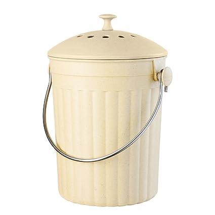 Oggi encimera Compost cubo con filtro de carbón, fabricado en fibra de bambú