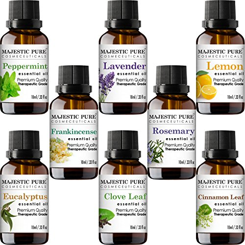 Majestic Pure Aromatherapy Essential Premium Oils Set, Includes Lavender, Frankincense, Peppermint, Eucalyptus, Lemon, Clove Leaf, Cinnamon Leaf & Rosemary Oils- Pack of 8 - 10 ml each Lemon Gift
