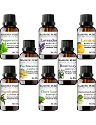 Majestic Pure Aromatherapy Essential Premium Oils Set, Includes Lavender, Frankincense, Peppermint, Eucalyptus, Lemon, Clove Leaf, Cinnamon Leaf & Rosemary Oils- Pack of 8 - 10 ml each