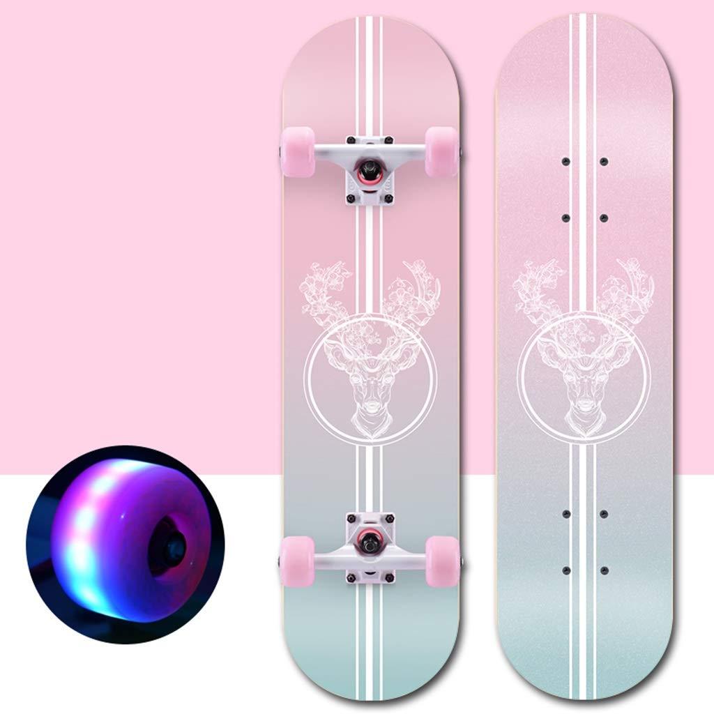 標準スケートボードコンプリートロングボード凹面デッキ両面カラーサンドペーパー4ホイールスケートボードカラフルライトに適してキッズ男の子女の子大人初心者 D