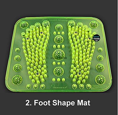 Reflexology Foot Massage Mat Stimulates Blood Circulation Acupressure Feet Massager Plate Board with Magnet (2. Foot Shape Mat) (Foot Board Massage)