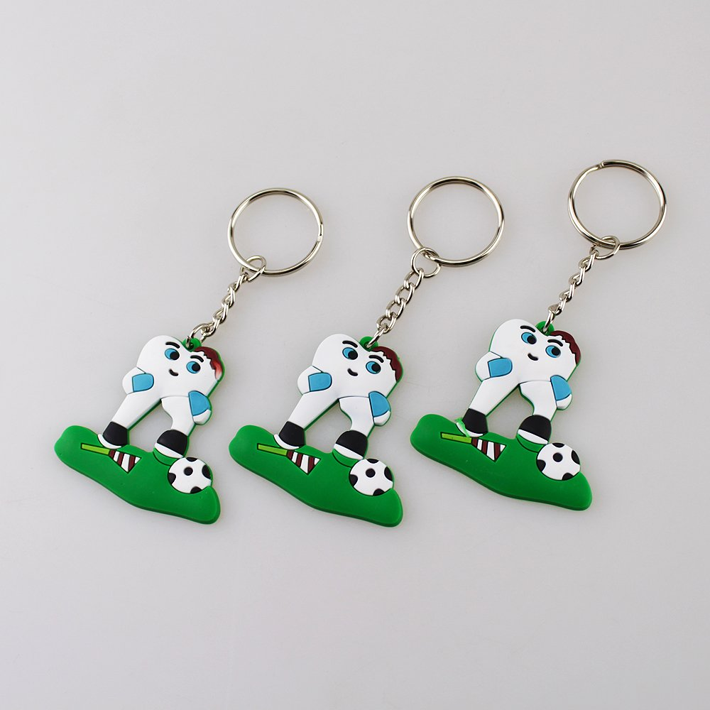 Airgoesin 6pcs Football Soccer Tooth Dental Dentist Rubber KEYCHAINS Promo Great Gift Charms Prizes Favors