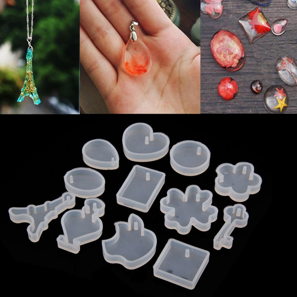 12pcs Silicone Mold DIY Resin Jewelry Pendant Necklace Pendant Bracelet Charms Mold Resin molds for Jewelry Making
