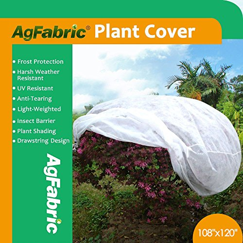 "Agfabric Plant Cover Warm Worth Frost Blanket – 0.95 oz Fabric of 108""Hx120""Dia Shrub Jacket, 3D Round Plant Cover for Season Extension&Frost Protection"