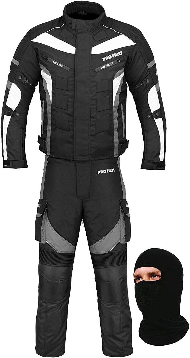 Black /& Red Cordura Fabric Small FREE BALACLAVA CE Armour 6 Packs Design Most Popular Waterproof Motorbike Gears Motorcycle 2 Suit Jacket /& Trouser