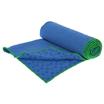 Patented Non-Slip Yoga Towel - Perfect for Wet AND Dry Conditions; 100% Ultra-absorbent and Quick Drying Microfiber; Breathable Mesh Carrying Case ...