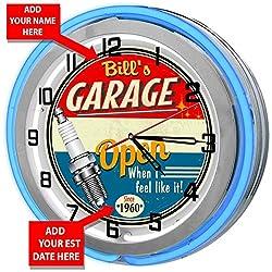 Redeye Laserworks Personalized Vintage Blue Neon Light Garage Clock from