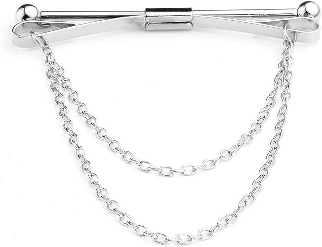 PiercingJ: alfiler de corbata con cadenas, para cuello de camisa o ...