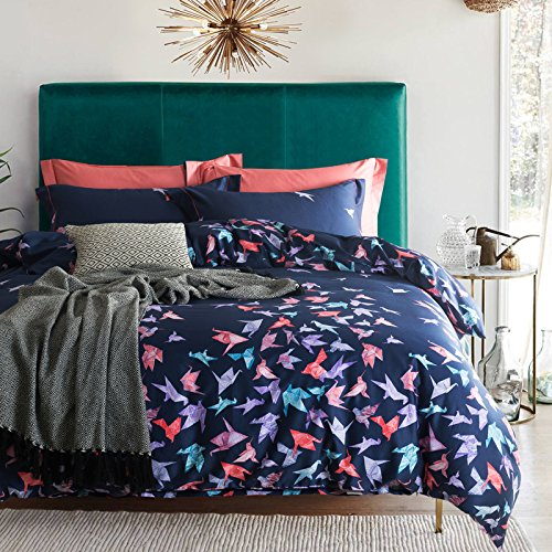 TheFit Paisley Textile Bedding for Women and Men W981 Blue Bird Origami Paper Duvet Cover Set 100% Egyptian Cotton, Queen King Set, 4 Pieces (Queen)