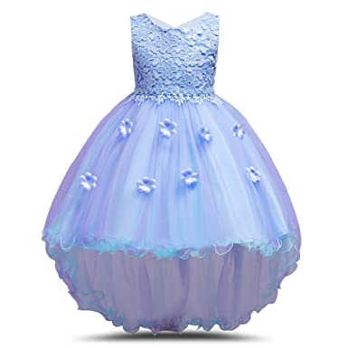 MCERMR Little Girls Floral Prom Dress High Low Ball Gown Pageant Party Flower Girl Dresses