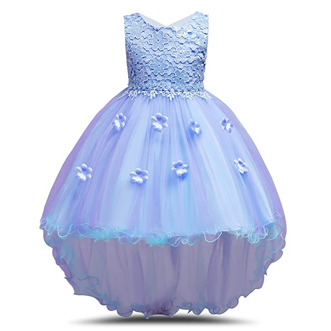 65c69b0ceba67 Little Girls Floral Prom Dress High Low Ball Gown Pageant Party Flower Girl  Dresses