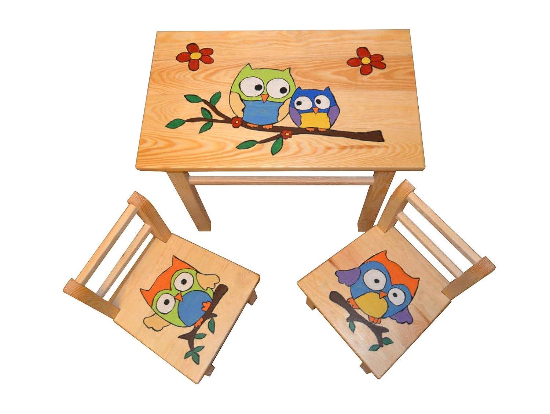 Sitzgruppe für Kinderzimmer Tisch+2 Stühle Kinder Kieferholz Kunsthandwerk! Öko! (Dalben) KML