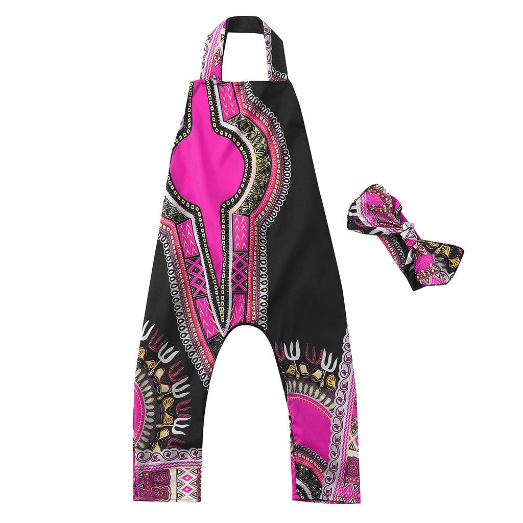 Hair Band,Toddler Kid Baby Girl African Print Sleeveless Romper Chinaware 2Pcs//Set Baby Jumpsuit Clothes
