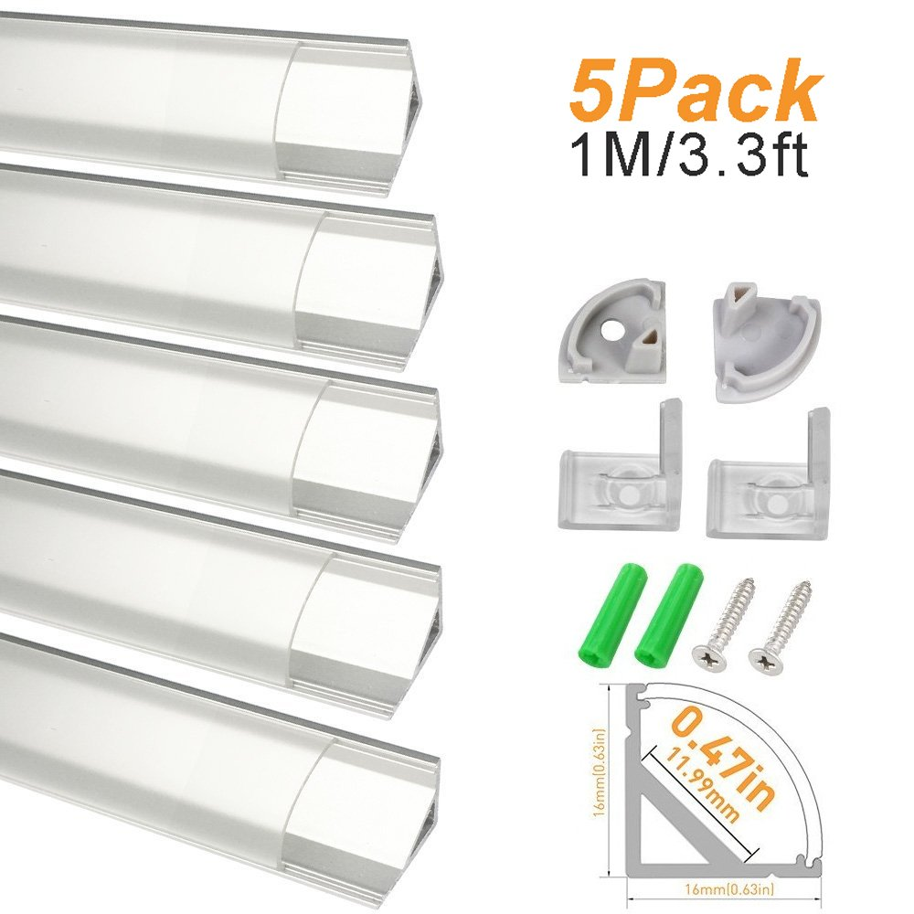 LightingWill Clear LED Aluminum Channel V Shape Corner Mounted 3.3Ft/1M 5 Pack Sliver Extrusion for <12mm 5050 3528 LED Flex/Hard Strip Lights with Covers, End Caps, and Mounting Clips TP-V02S5