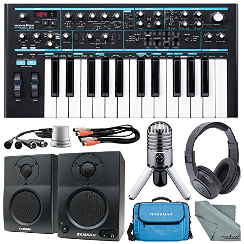 Novation Bass Station II Monophonic Analog Synthesizer Deluxe Bundle with Samson Meteor Mic + Cables + Gig Bag + Closed-Back Headphones + TC Level Pilot + Fibertique Cleaning Cloth