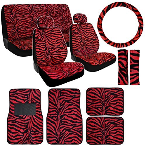 New Premium Grade 15 Pieces RED Zebra Print Low Back Front Car Seat Cover Rear Bench Cover and 4 Pieces Floor Mats Set