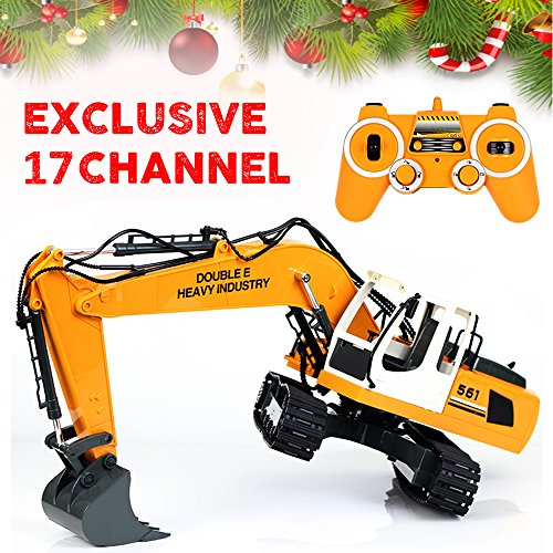 DoubleE Exclusive 17 Channel Full Functional RC Excavator, Remote Control Construction Tractor Metal Shovel for Boys | Best Christmas Gift (Remote Control Excavator compare prices)