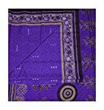 Vintage Sari Dress Up Games Art Cotton DIY Material Used Blue Curtain Drape Leaf Printed Sarong Home Decor