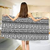 Striped,Bath Towel,Trippy Mystic Aztec Culture Figure Antique Aged Folk Old Bohemian Print,Bathroom Towels,Black White Size: W 27.5'' x L 55''