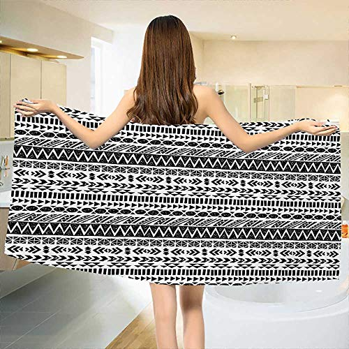 Striped,Bath Towel,Trippy Mystic Aztec Culture Figure Antique Aged Folk Old Bohemian Print,Bathroom Towels,Black White Size: W 27.5'' x L 55'' by Chaneyhouse