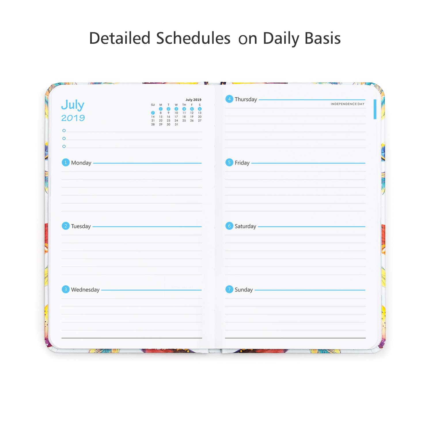 Planner 2019-2020 Hardcover, Daily Weekly Monthly Personal Organizer, 5 5x8  Inches