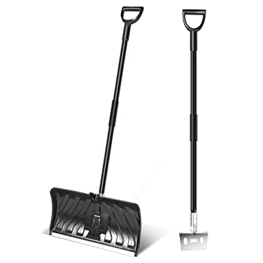 Ohuhu 2-in-1 Snow Shovel & Ice Scraper, 55-INCH Collapsible Multipurpose Snow Shovels for Snow Removal, Snow Pusher for Driveway, Ice Scraper for Digging Snow, 2019 All New Efficient Snow Remover