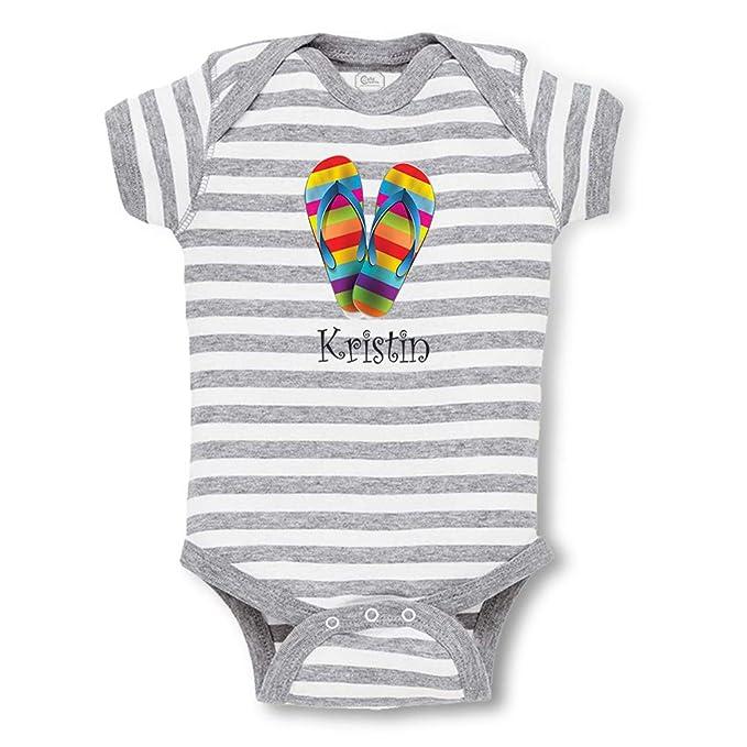 f7ba39170adf Personalized Custom Funny Flip Flops Rainbow Colorful Cotton Short Sleeve  Envelope Neck Boys-Girls Baby