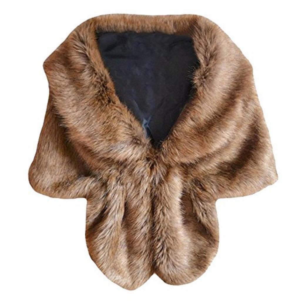 Acamifashion Women's Warm Winter Faux Rabbit Fur Shawl Wrap Stole Cape Jacket Coat 12KM145137UQTOF5259