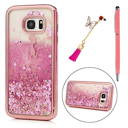 S7 Edge Case, KASOS Rose Gold Plating Soft TPU Case Colorful Painting Butterfly Girl Bling Pink Heart-Shaped Quicksand Slim Lightweight Bumper Cover for Samsung Galaxy S7 Edge Case - Butterfly Girl