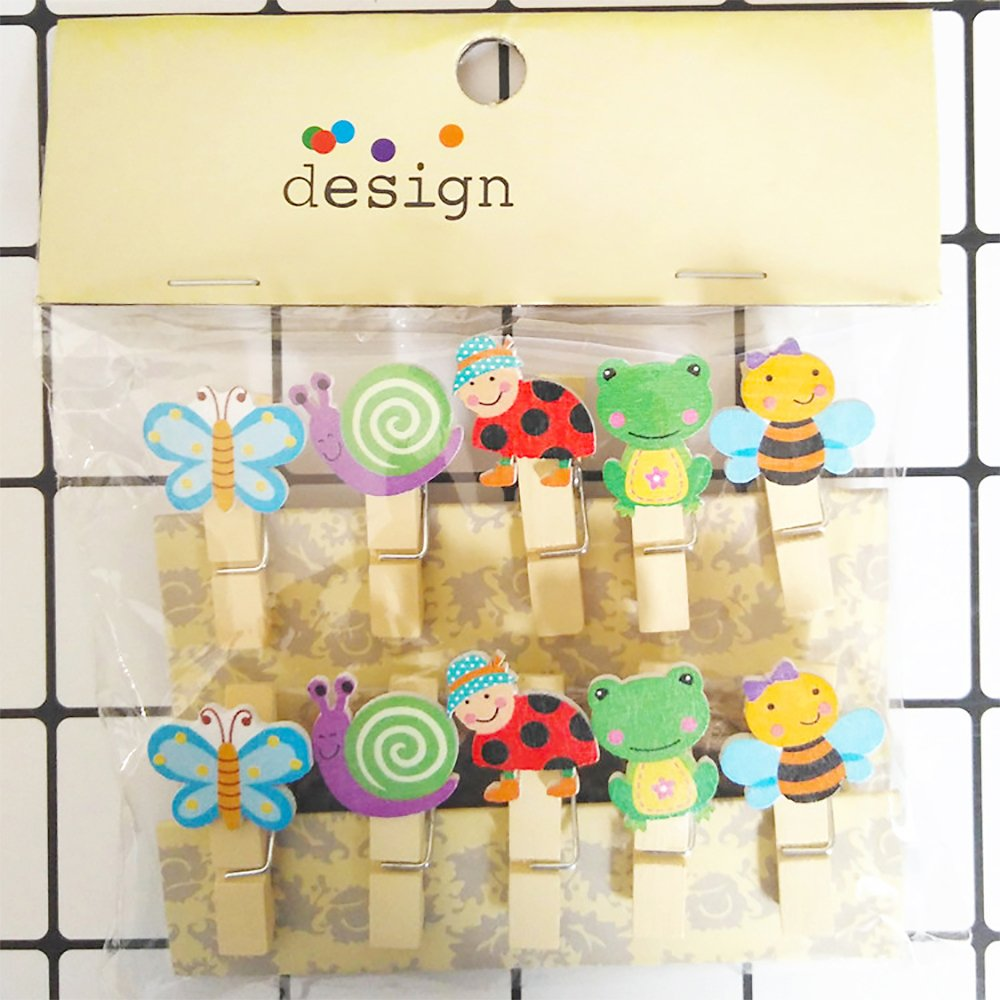 Bee and Butterfly Zhi Jin 10pcs//Set Cute Wooden Clip Pegs Clothespins for Photo Album Postcard Note Paper Decor Clamp with Rope and 2Pcs Non-trace hooks