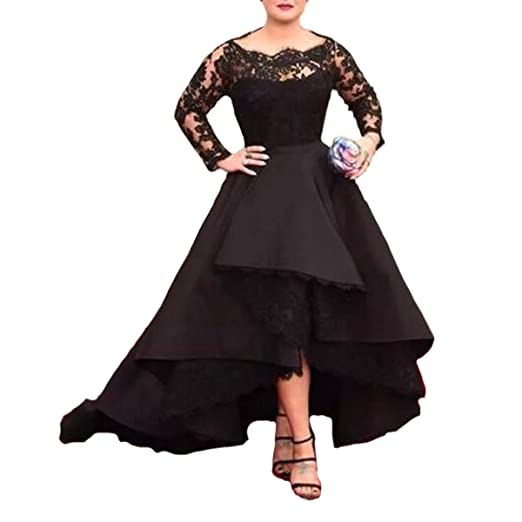 Fair Lady Long Sleeves Sheer Black Lace Prom Dresses Ball Gown