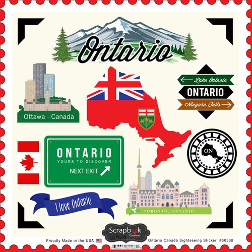 Ontario Canada Sightseeing Scrapbook Stickers - Stickers Scrapbook Canada