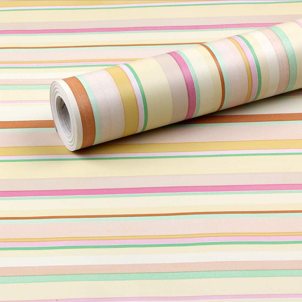 MULLSAN Colorful Stripe Contact Paper Decorative Self Adhesive Wallpaper for Countertop Shelf Liner Drawer Sticker 17.7''x78.7''