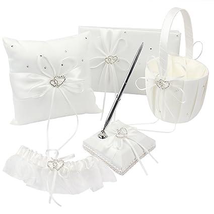Amazon.com: KANECH 5pcs Sets-Ivory Satin-Wedding Flower Girl Basket ...