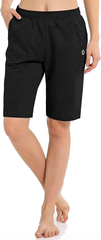 Gym Yoga Athletic Running Sweat Lounge Shorts with Pockets Womens Long Workout Bermuda Shorts