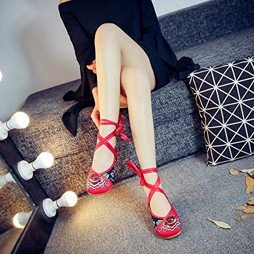 Red Alla Cinturini Casual black Da Danza Caviglia Colorblock Fanwer Etnica Per Donna Scarpe Ricamate IqwRW67