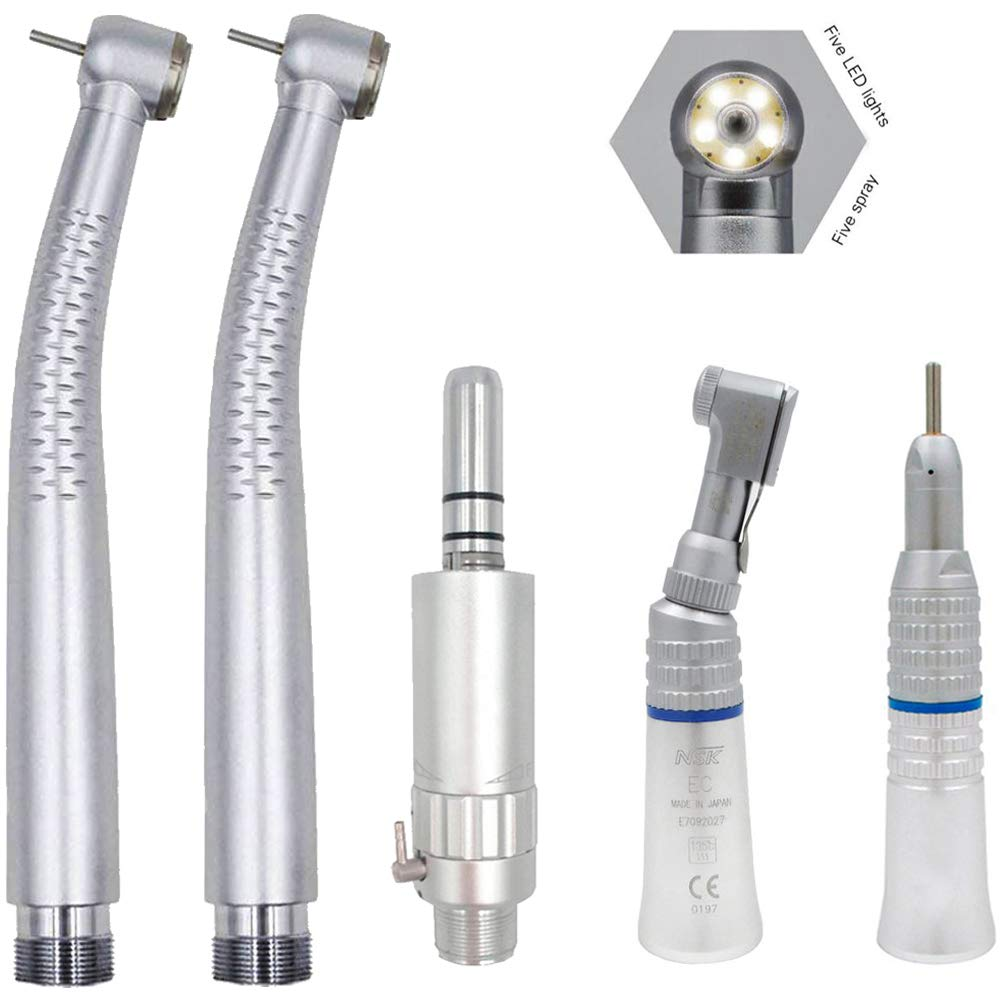 2PCS High Speed 5 LED Light Hand Tools, with Low Speed Air Motor Contra Angle Straight Kit 2 Holes