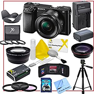 Sony Alpha A6000 Mirrorless Digital Camera with 16-50mm Lens (Black), Includes Full Size Tripod, 8GB SD Memory Card, All-in-1 Memory Card Reader, 3 Piece Lens Filter Kit, 2.2X HD Telephoto Lens, Wide Angle Lens, 4 Piece Macro Lens Kit, Tulip Lens Hood, Memory Storage Wallet, Lens Cleaning Kit and CS Microfiber Cloth.