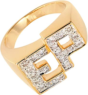 Yourjewellerybox tk3222 tk3240 Mans Mens Gold Stainless Steel Simulated Diamond Ring 2TONE Signet Pinky