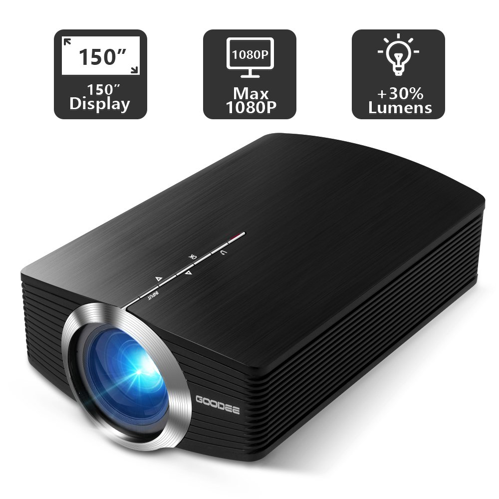 Projector, GooDee Mini Portable Projector Home Cinema Theater Movie Video Projector Support Multimedia HDMI USB for Home Entertainment Games by GooDee (Image #2)
