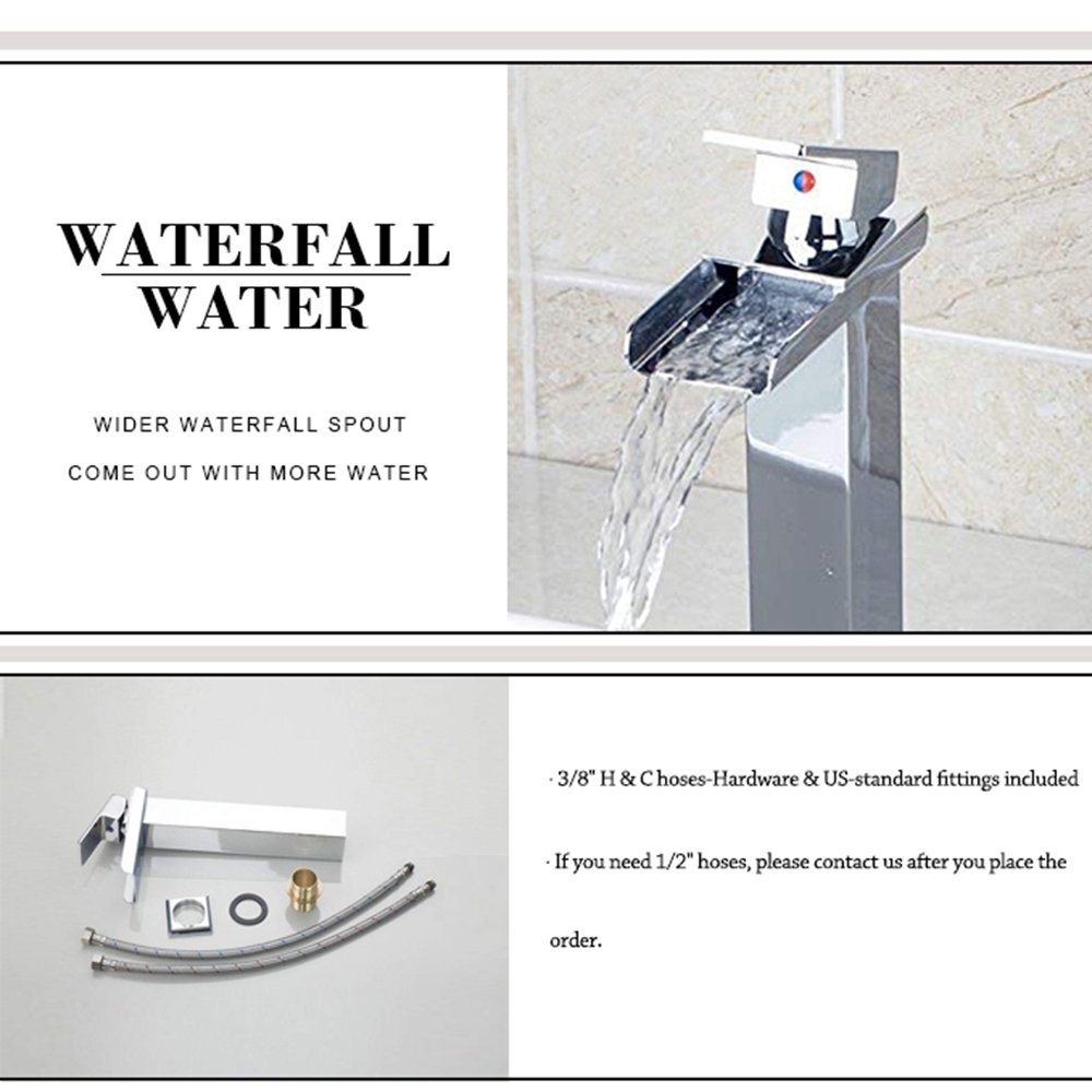 Bathroom Sink Faucets Waterfall Single Handle Basin Sink Mixer Taps Chrome Finish Yutfaucet by Yutfaucet (Image #2)