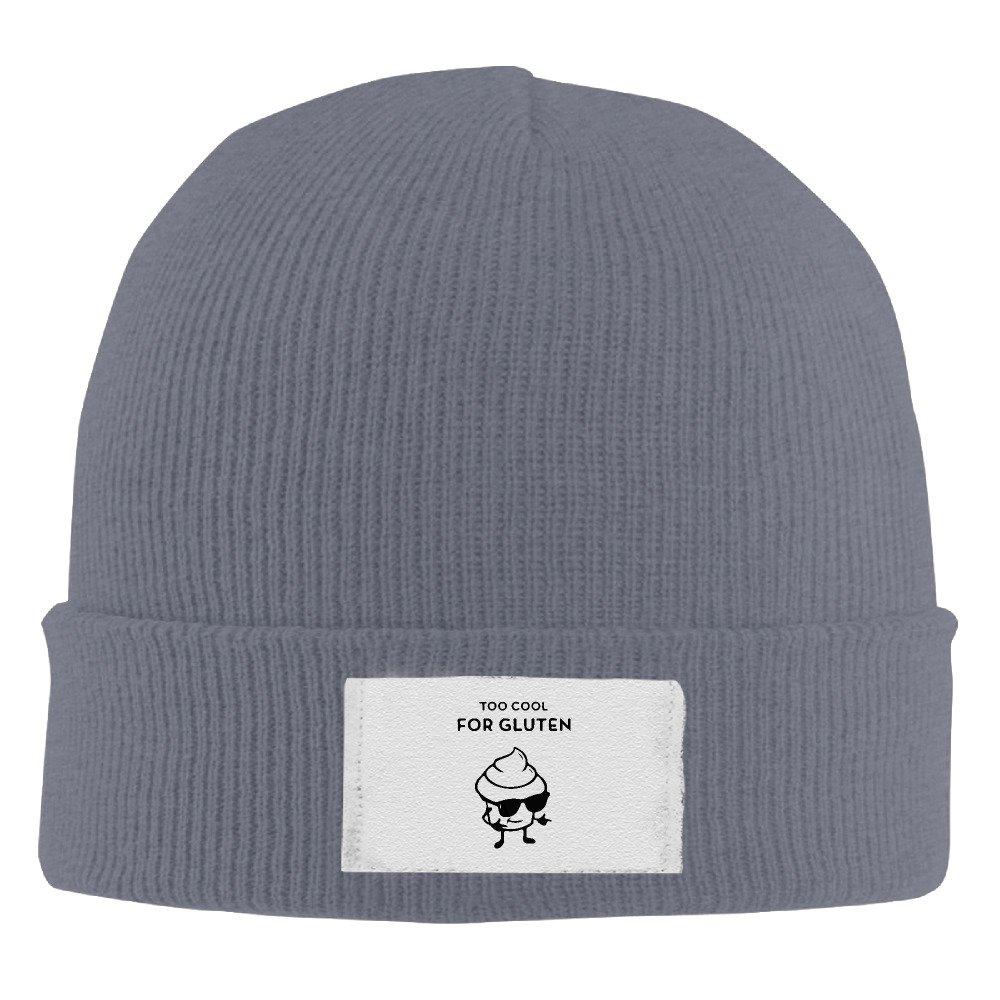 Too Cool For Gluten Elastic Rib Knit Beanie Hats Black