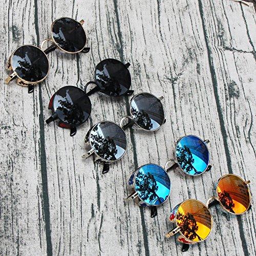 Gafas Retro Marco Lente AMZTM Pequeña Gris De Steampunk Polarizadas Redondas Sol Dorado 8S8Iqd